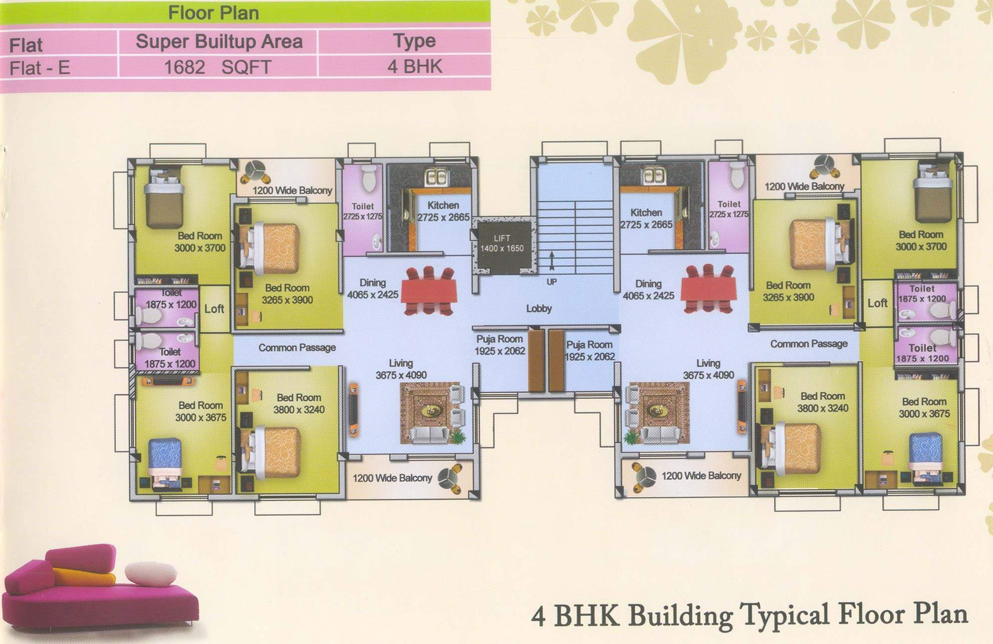 100 flat plans 3 bedroom floor plans india design for Four bhk bungalow plan